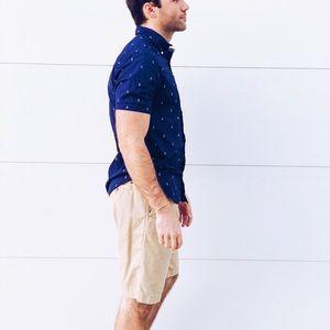 fd9806e79211 Carbon Shirts - Navy Blue Anchor Short Sleeve Button Down